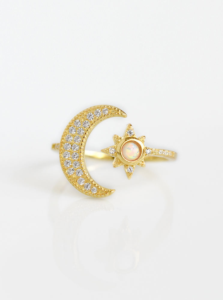 Moon and Star Opal Ring