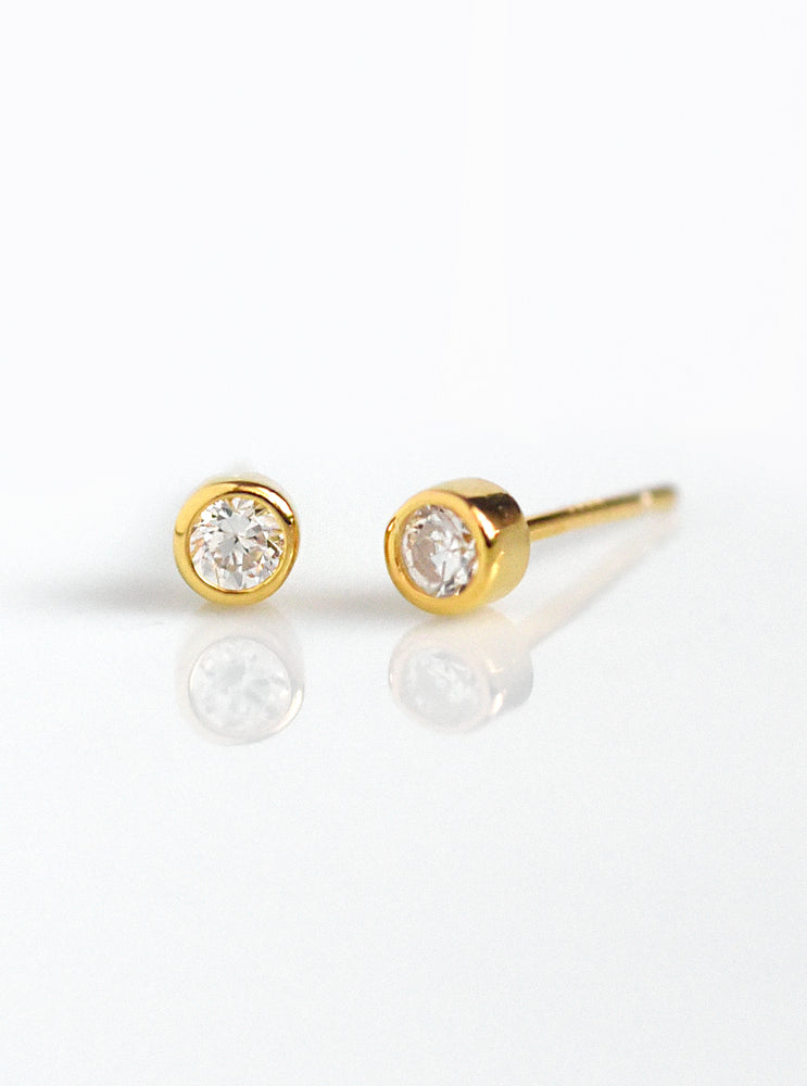 Mini Solitaire CZ Stud Earrings