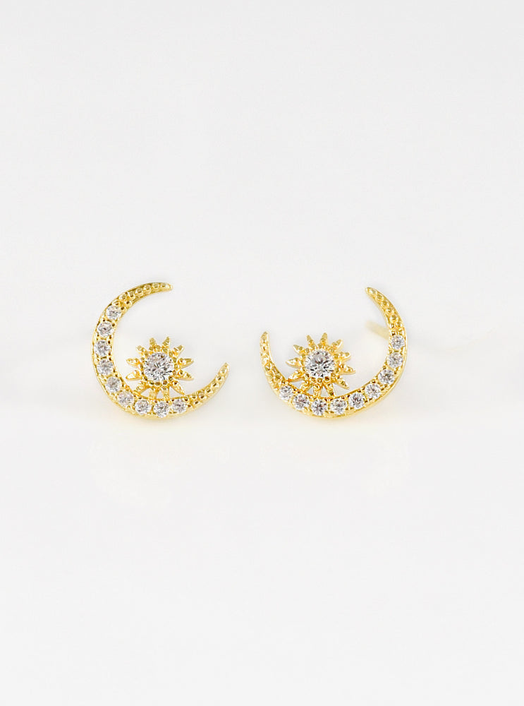 Crescent Moon and Star CZ Stud Earrings
