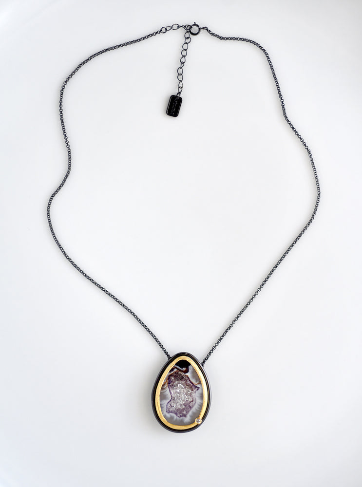 Geode Necklace With Floating Herkimer Diamond