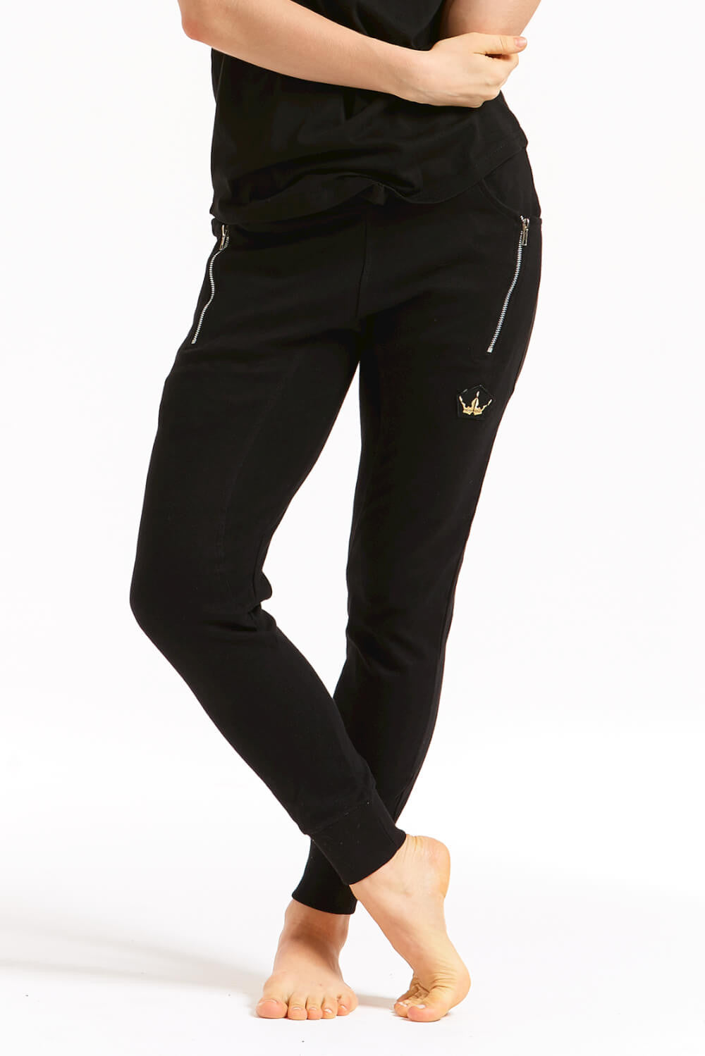 Crown Black Joggers with Zips