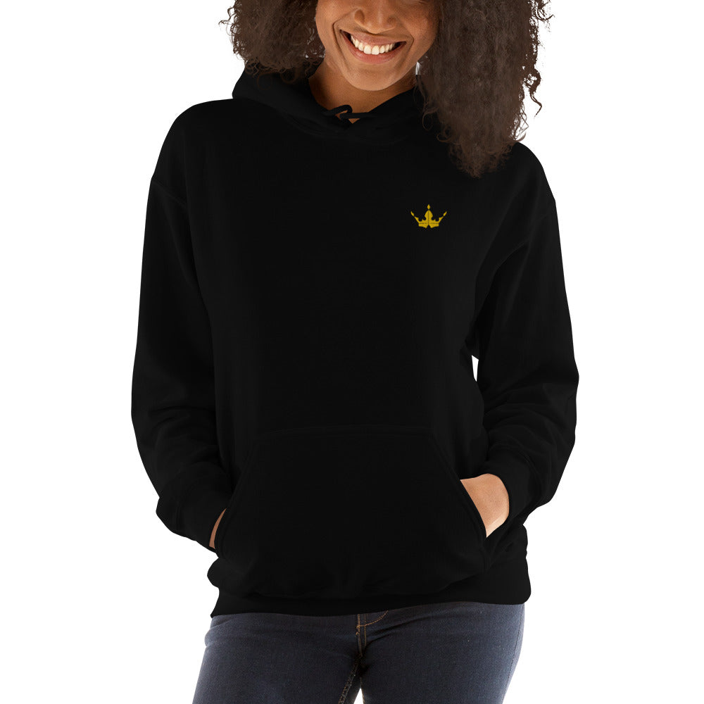 Gold Crown Embroidered Black Hoodie - Unisex