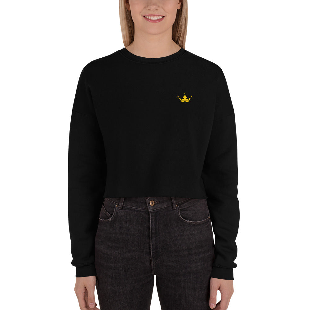 Gold Crown Black Crop Sweatshirt