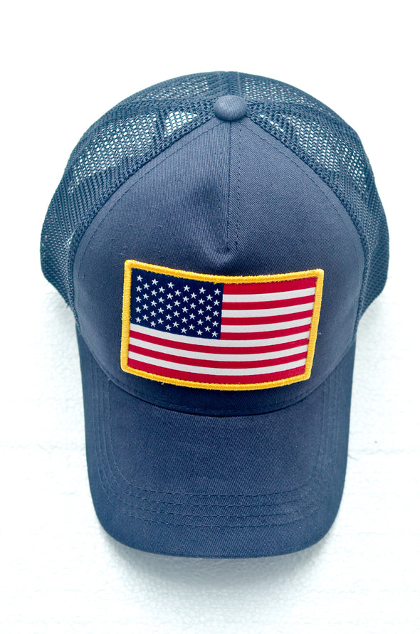 ITS BACK!!  Navy USA Flag Trucker Hat