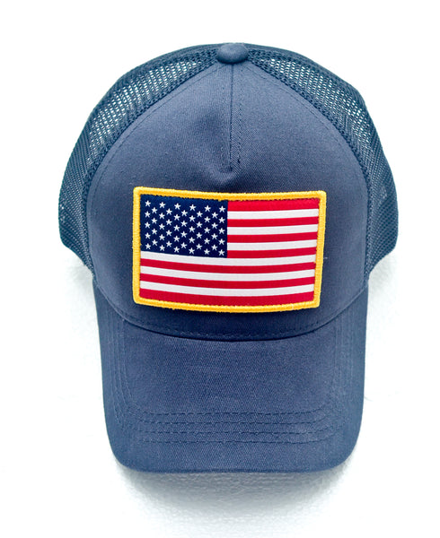 Back in STOCK!!     Navy USA Flag Trucker Hat -