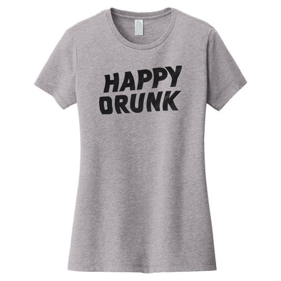 Happy Drunk Tee - Light Grey - Women's Cut