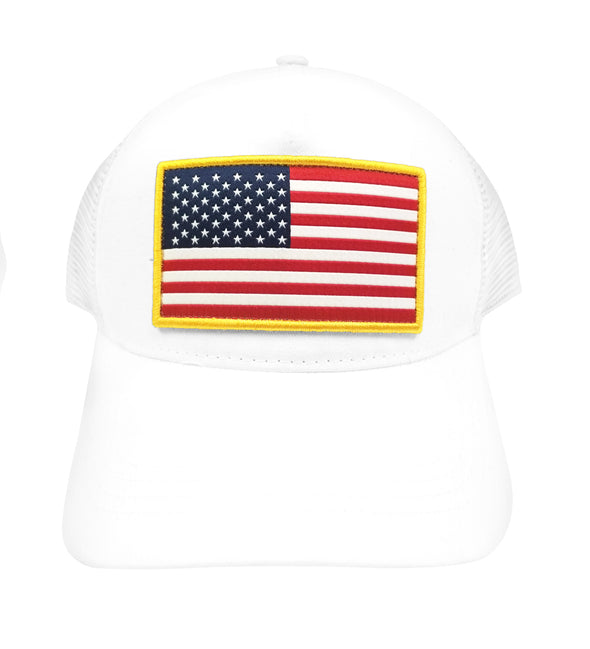 White USA Flag Trucker Hat