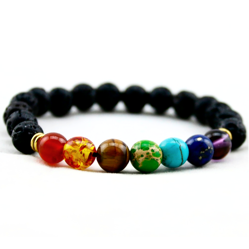 7 Chakra Bracelet ~ Lava Rock or Wooden Beads-Bracelet-Hallvaror-Gift_Ideas-Clothing-Jewelry-Accessories