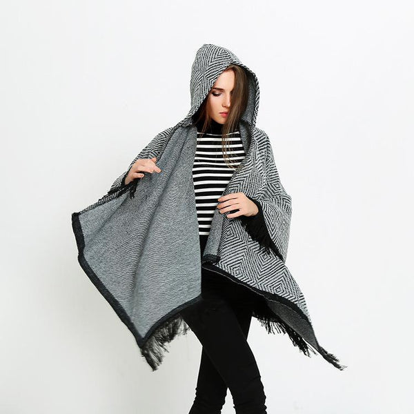 Black & White Plaid Fringe Hooded Scarf Cape-Shawl-Hallvaror-Gift_Ideas-Clothing-Jewelry-Accessories