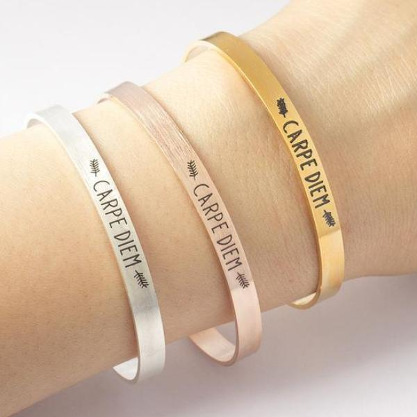 Carpe Diem Stainless Steel Cuff Bracelet-Bracelet-Carpe Diem-Rose Gold-Hallvaror-Gift_Ideas-Clothing-Jewelry-Accessories