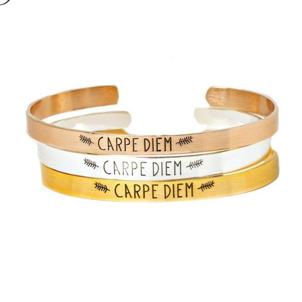 Carpe Diem Stainless Steel Cuff Bracelet-Bracelet-Hallvaror-Gift_Ideas-Clothing-Jewelry-Accessories