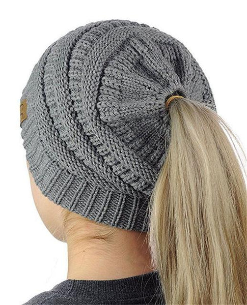 CC Label Knit Ponytail Hat-Hat-Gray-Hallvaror-Gift_Ideas-Clothing-Jewelry-Accessories