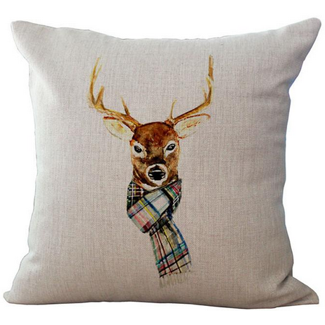 Deer with Plaid Scarf Pillow-Pillow-Hallvaror-Gift_Ideas-Clothing-Jewelry-Accessories