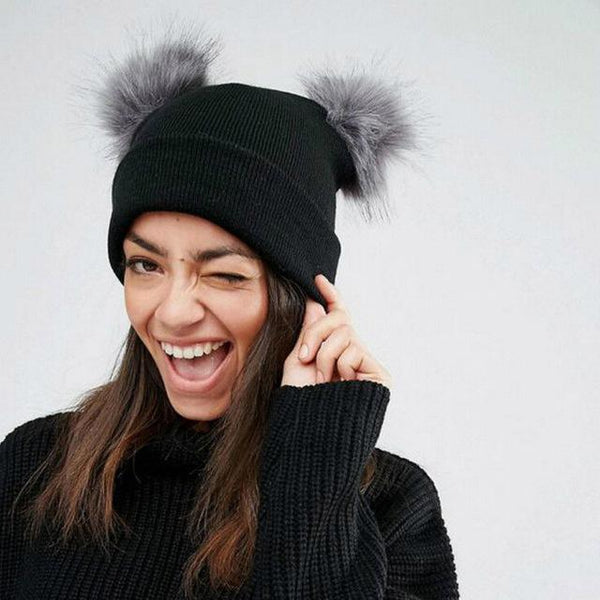 Double Fur Pom Chunky Knit Beanie-Hat-Black Gray-Hallvaror-Gift_Ideas-Clothing-Jewelry-Accessories
