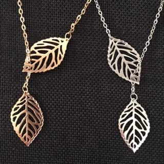 Double Leaf Lariat Necklace-Necklace-Hallvaror-Gift_Ideas-Clothing-Jewelry-Accessories