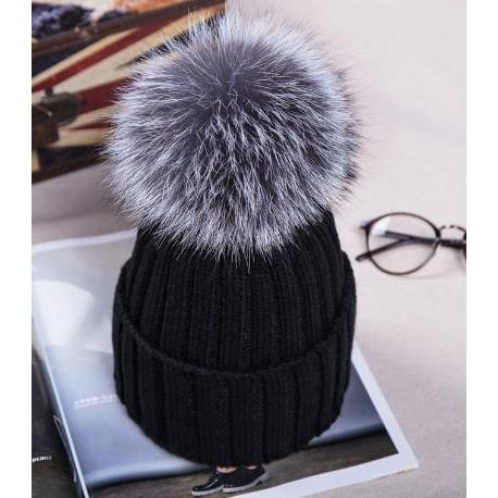 Fox Fur Pom Hat-Hat-Black-Hallvaror-Gift_Ideas-Clothing-Jewelry-Accessories