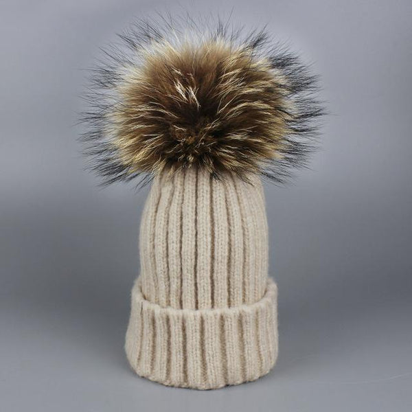Fur Pom Winter Hat-Hat-Beige-Hallvaror-Gift_Ideas-Clothing-Jewelry-Accessories