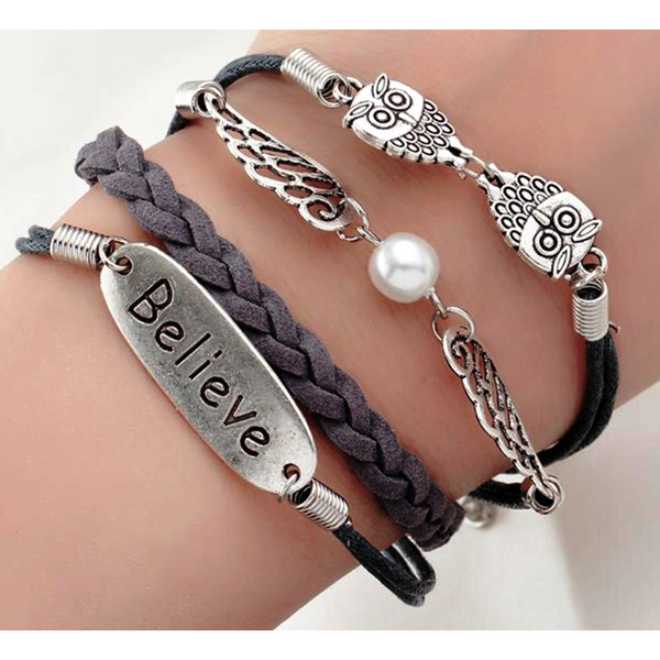 Gray Believe Wings Double Owls Bracelet-Bracelet-Hallvaror-Gift_Ideas-Clothing-Jewelry-Accessories