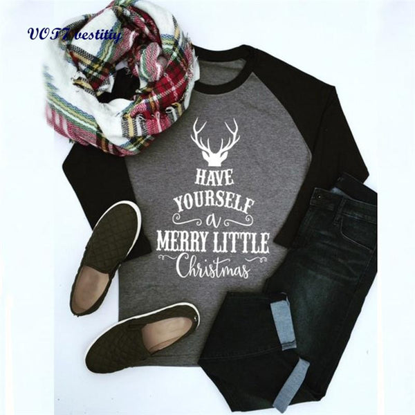 Have Yourself a Merry Little Christmas Henley Tee--Hallvaror-Gift_Ideas-Clothing-Jewelry-Accessories