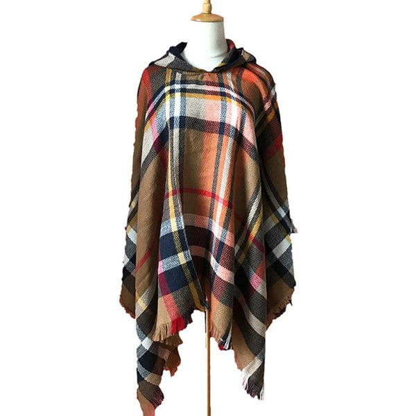Hooded Plaid Poncho-Shawl-Hallvaror-Gift_Ideas-Clothing-Jewelry-Accessories