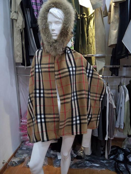 Khaki Plaid Wool Blend Fur Hood Cape-Shawl-Hallvaror-Gift_Ideas-Clothing-Jewelry-Accessories