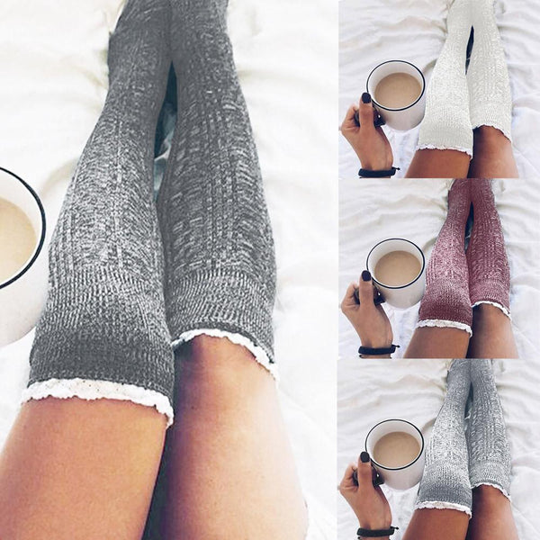 Lace Top Cable Knit Over-the-Knee Boot Socks-Socks-Hallvaror-Gift_Ideas-Clothing-Jewelry-Accessories
