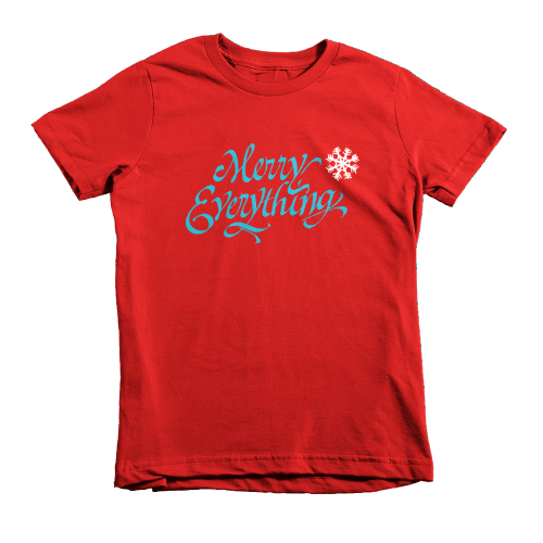 Merry Everything Kids Tee-Red-2yrs-Hallvaror-Gift_Ideas-Clothing-Jewelry-Accessories