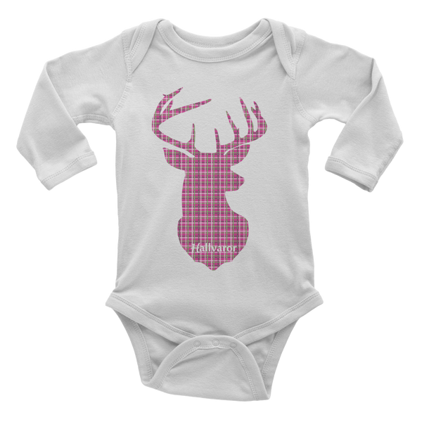 Plaid Buck Infant Long Sleeve Onsie ~ Hot Pink Edition!-3-6m-Hallvaror-Gift_Ideas-Clothing-Jewelry-Accessories