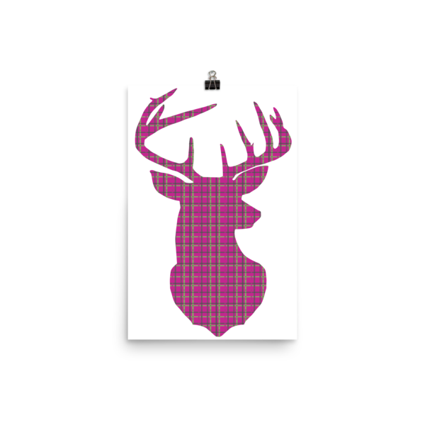 Plaid Buck Poster ~ Hot Pink Edition-12×18-Hallvaror-Gift_Ideas-Clothing-Jewelry-Accessories