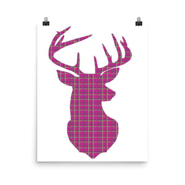 Plaid Buck Poster ~ Hot Pink Edition-16×20-Hallvaror-Gift_Ideas-Clothing-Jewelry-Accessories