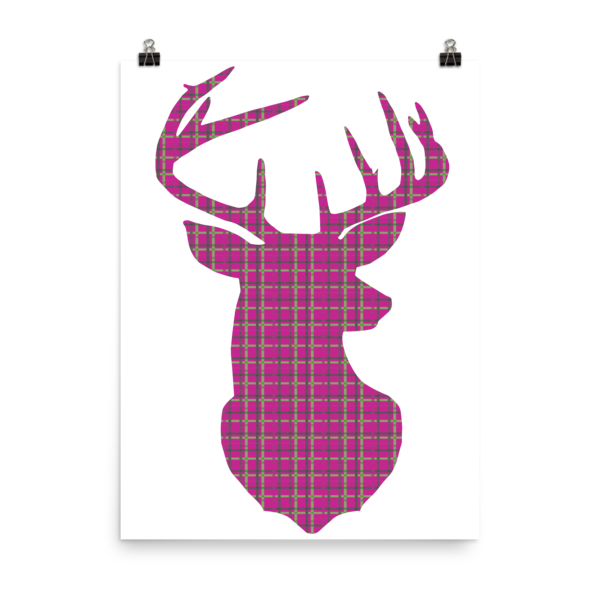 Plaid Buck Poster ~ Hot Pink Edition-18×24-Hallvaror-Gift_Ideas-Clothing-Jewelry-Accessories