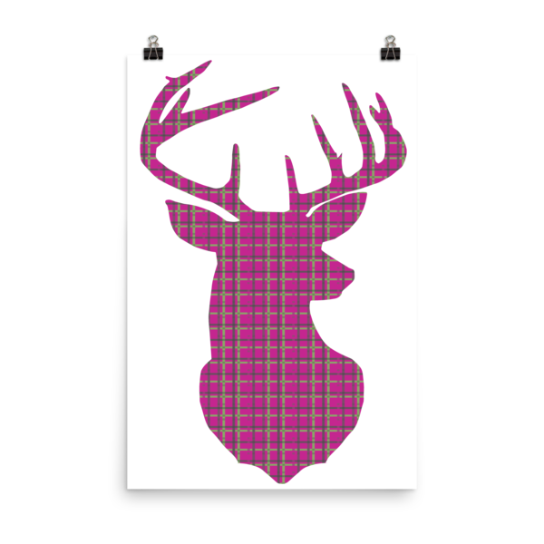 Plaid Buck Poster ~ Hot Pink Edition-24×36-Hallvaror-Gift_Ideas-Clothing-Jewelry-Accessories