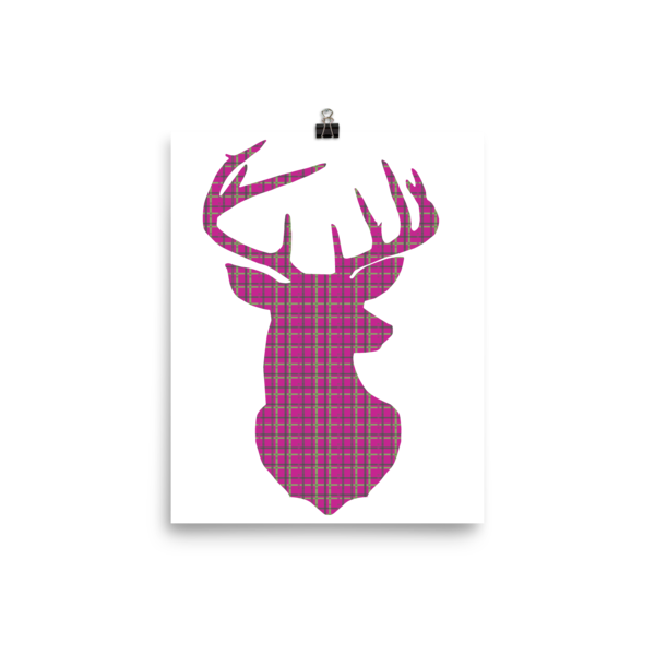 Plaid Buck Poster ~ Hot Pink Edition-8×10-Hallvaror-Gift_Ideas-Clothing-Jewelry-Accessories