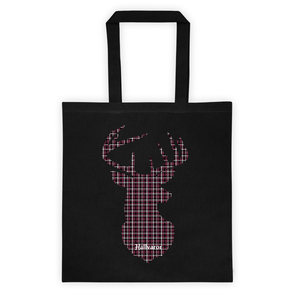 Plaid Buck Tote Bag ~ Maroon & black Plaid Edition--Hallvaror-Gift_Ideas-Clothing-Jewelry-Accessories