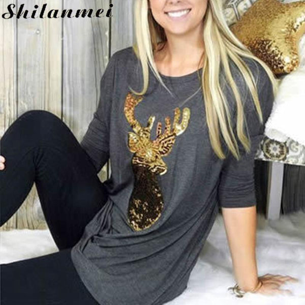 Sparkly Deer Holiday Shirt-Shirt-Hallvaror-Gift_Ideas-Clothing-Jewelry-Accessories
