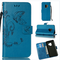 Butterfly Embossed Leather Cell Phone Wallet Folio (Blue) - TREE LIFE PRODUCTS
