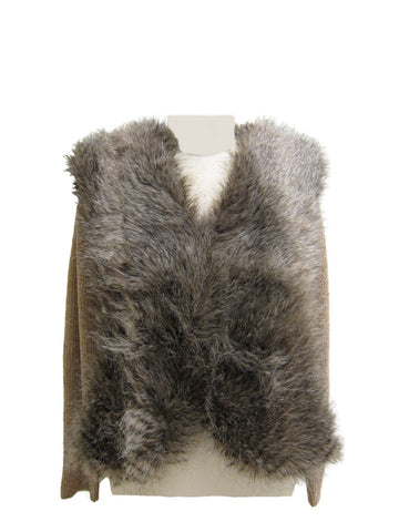 Heather Chenille Cardigan with Faux Fur