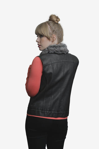 Pleather Vest w/Detachable Faux Fur Collar