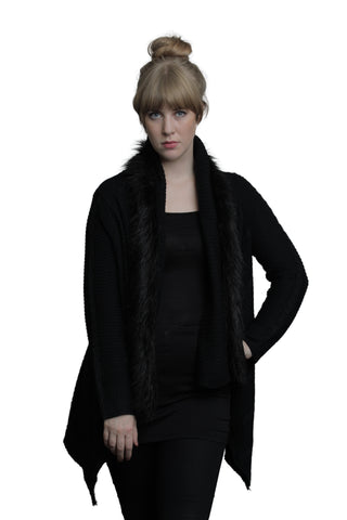 Open Wrap Cardigan with Faux Fur Collar