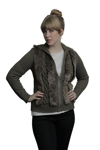Cable and Ribbed Cardigan with Faux Fur and Front Pockets