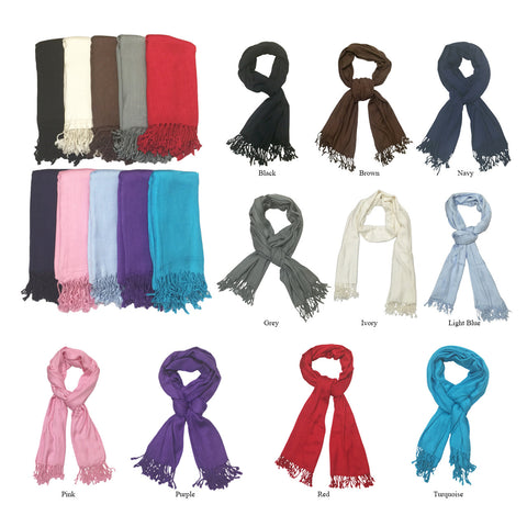 Women's Large Fringe Solid Color Scarf Shawl Wrap - Clothing Deals Now