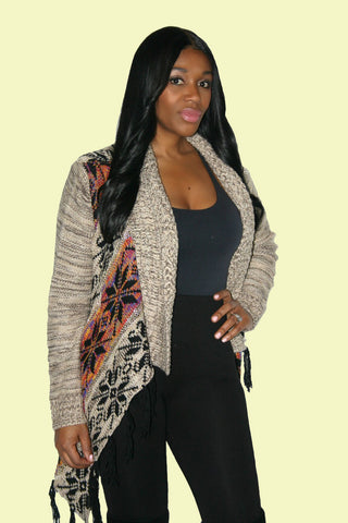 Wrap Tribal Cardigan with Fring and Lurex