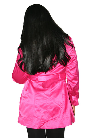 Women's Hot Pink Tie-Waist Trench Coat