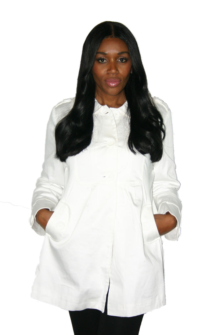 Women's Ivory Round Collar Trench Coat