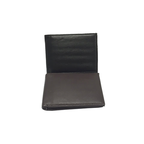 Men's Black or Brown Slim Bifold Leather Wallets - Clothing Deals Now