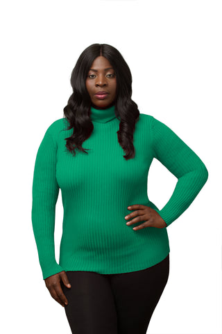 Long Sleeve Plus Size Turtle Neck Pullover - Clothing Deals Now