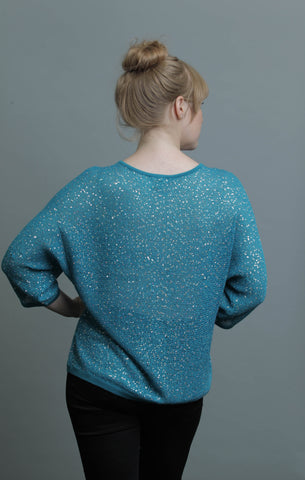 3/4 Dolman Sleeve Crew Neck Scattered Sequins Knit Top - Clothing Deals Now