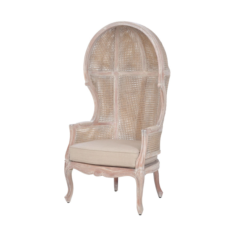 King Rattan Balloon Chair, Whitewash