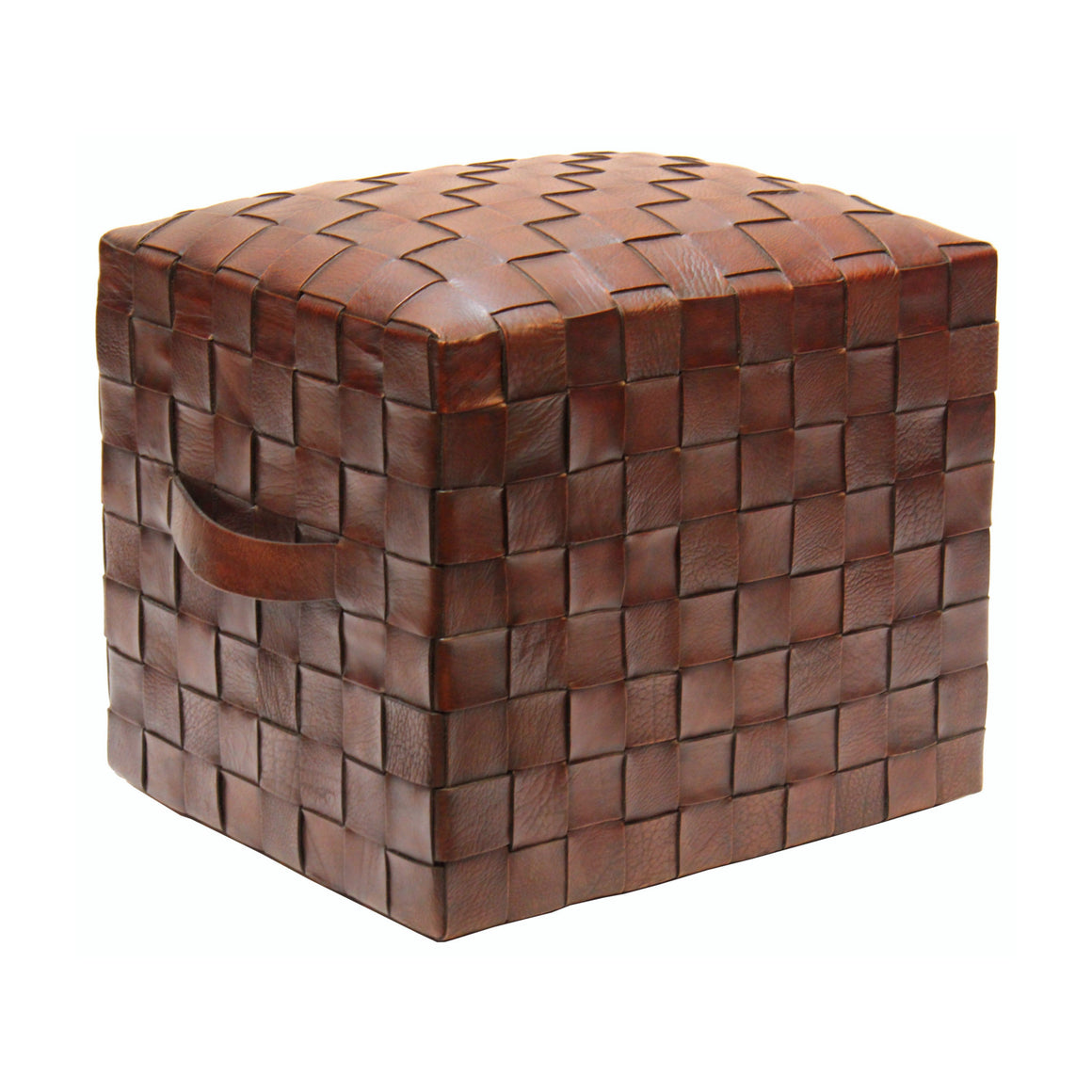 Brooklin Woven Leather Pouf, Brown