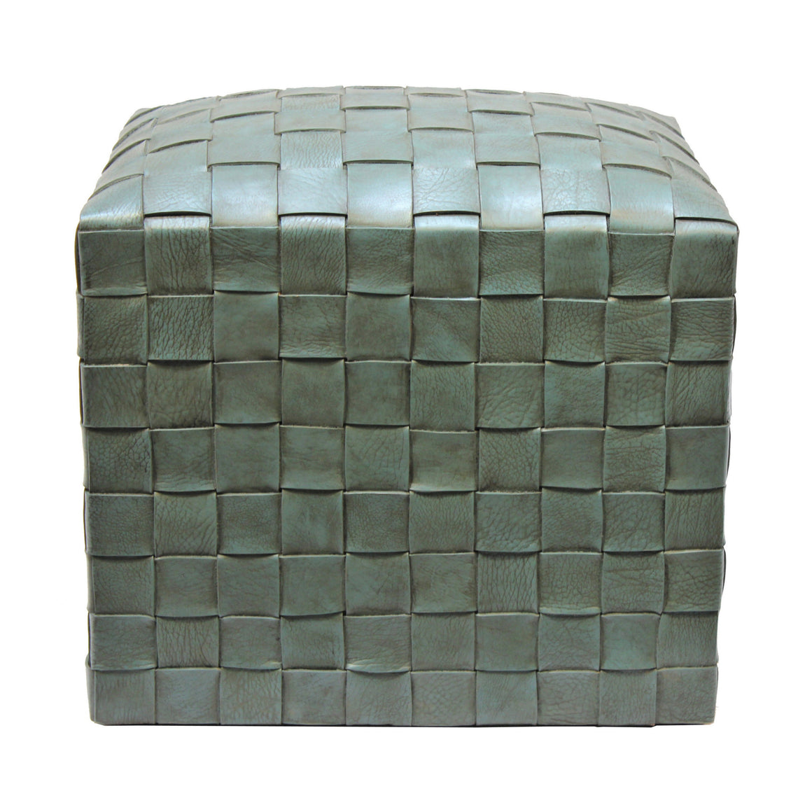 Brooklin Woven Leather Pouf, Turquoise